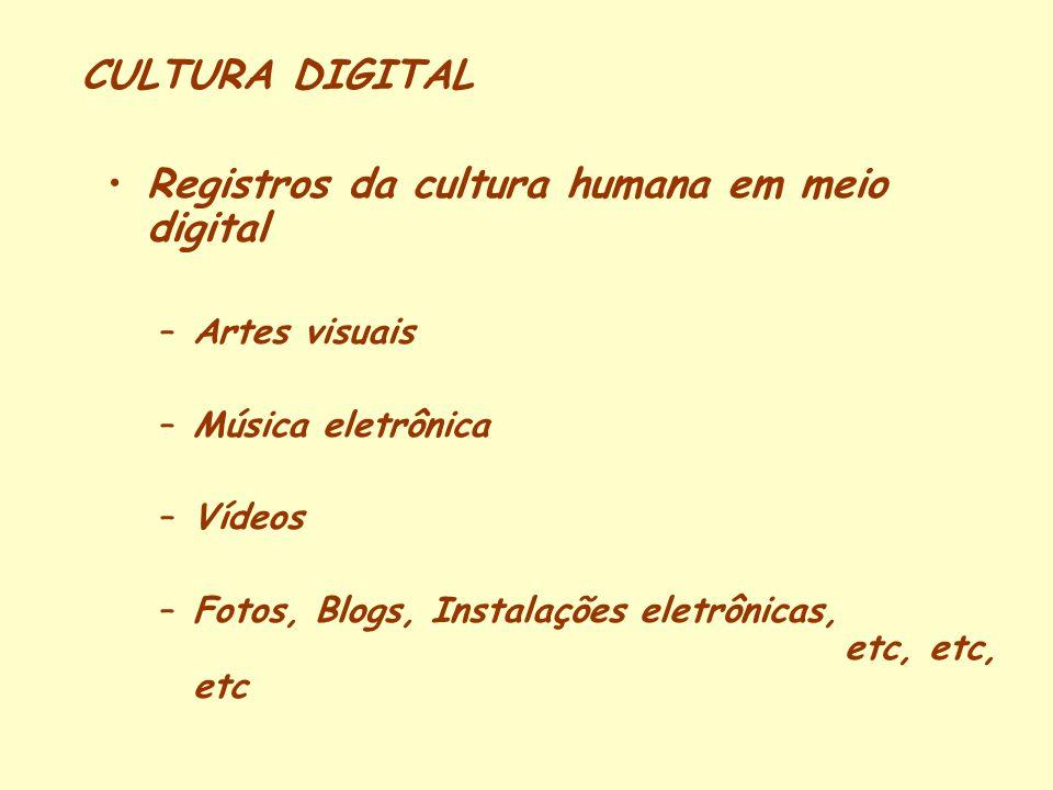 CULTURA DIGITAL Registros da cultura humana em meio digital –Artes visuais –Música eletrônica –Vídeos –Fotos, Blogs, Instalações eletrônicas, etc, etc, etc