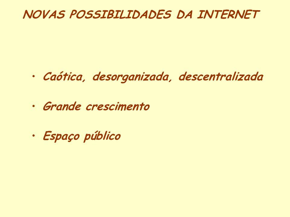 NOVAS POSSIBILIDADES DA INTERNET Caótica, desorganizada, descentralizada Grande crescimento Espaço público