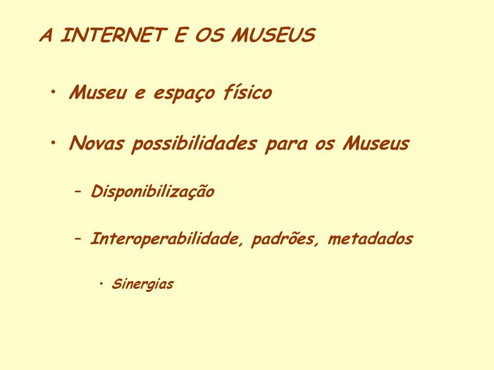 A INTERNET E OS MUSEUS Museu e espaço físico Novas possibilidades para os Museus –Disponibilização –Interoperabilidade, padrões, metadados Sinergias