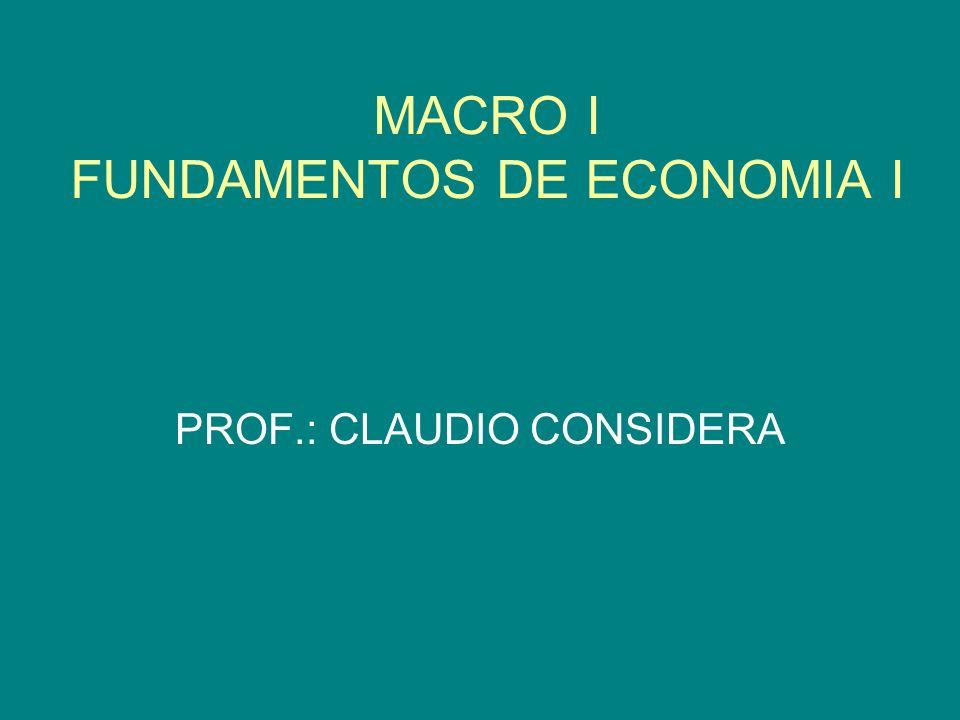 MACRO I FUNDAMENTOS DE ECONOMIA I PROF.: CLAUDIO CONSIDERA