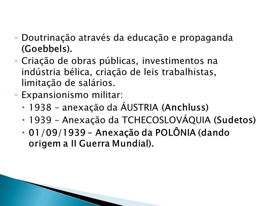 Doutrinação através da educação e propaganda (Goebbels). Criação de obras públicas, investimentos na indústria bélica, criação de leis trabalhistas, l