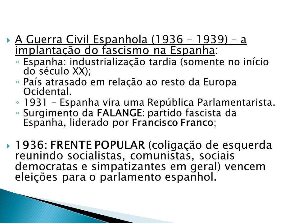A Guerra Civil Espanhola (1936 – 1939) – a implantação do fascismo na Espanha: Espanha: industrialização tardia (somente no início do século XX); País