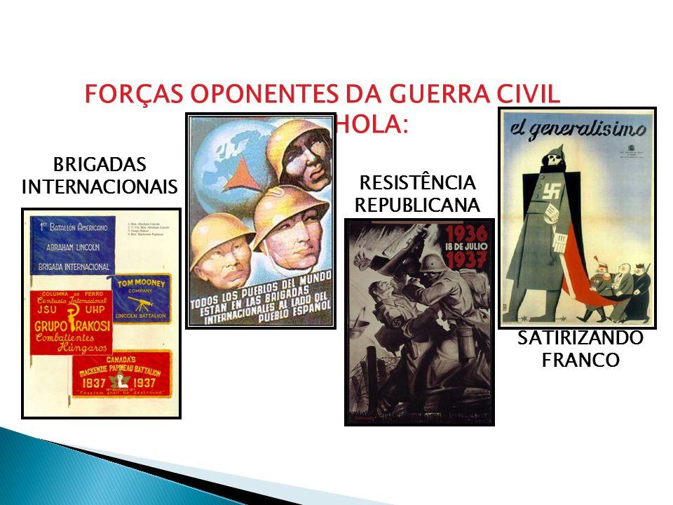 FORÇAS OPONENTES DA GUERRA CIVIL ESPANHOLA: BRIGADAS INTERNACIONAIS RESISTÊNCIA REPUBLICANA SATIRIZANDO FRANCO