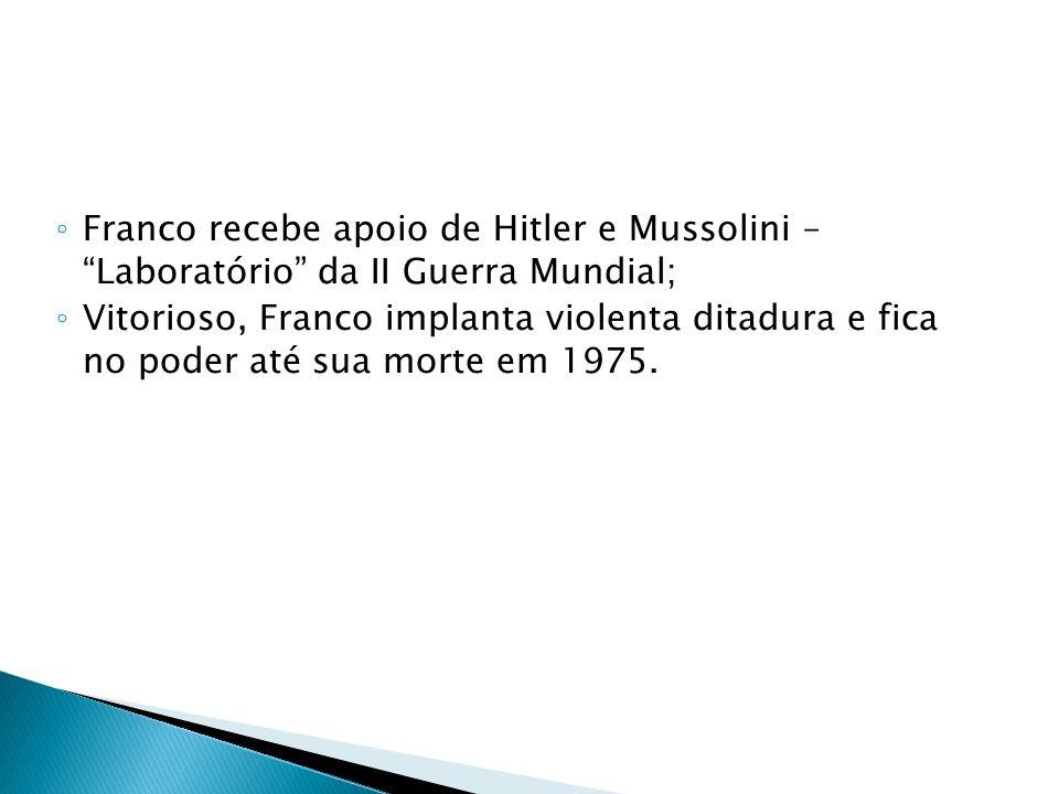 Franco recebe apoio de Hitler e Mussolini – Laboratório da II Guerra Mundial; Vitorioso, Franco implanta violenta ditadura e fica no poder até sua mor