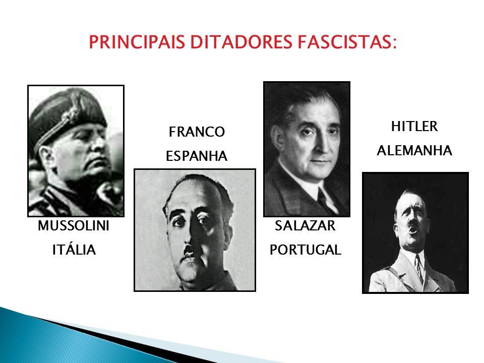 PRINCIPAIS DITADORES FASCISTAS: MUSSOLINI ITÁLIA FRANCO ESPANHA SALAZAR PORTUGAL HITLER ALEMANHA