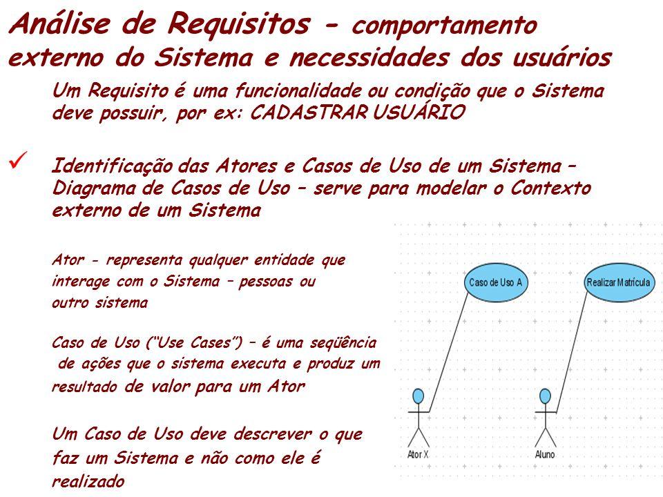 Análise de Requisitos - comportamento externo do Sistema e necessidades dos usuários Um Requisito é uma funcionalidade ou condição que o Sistema deve