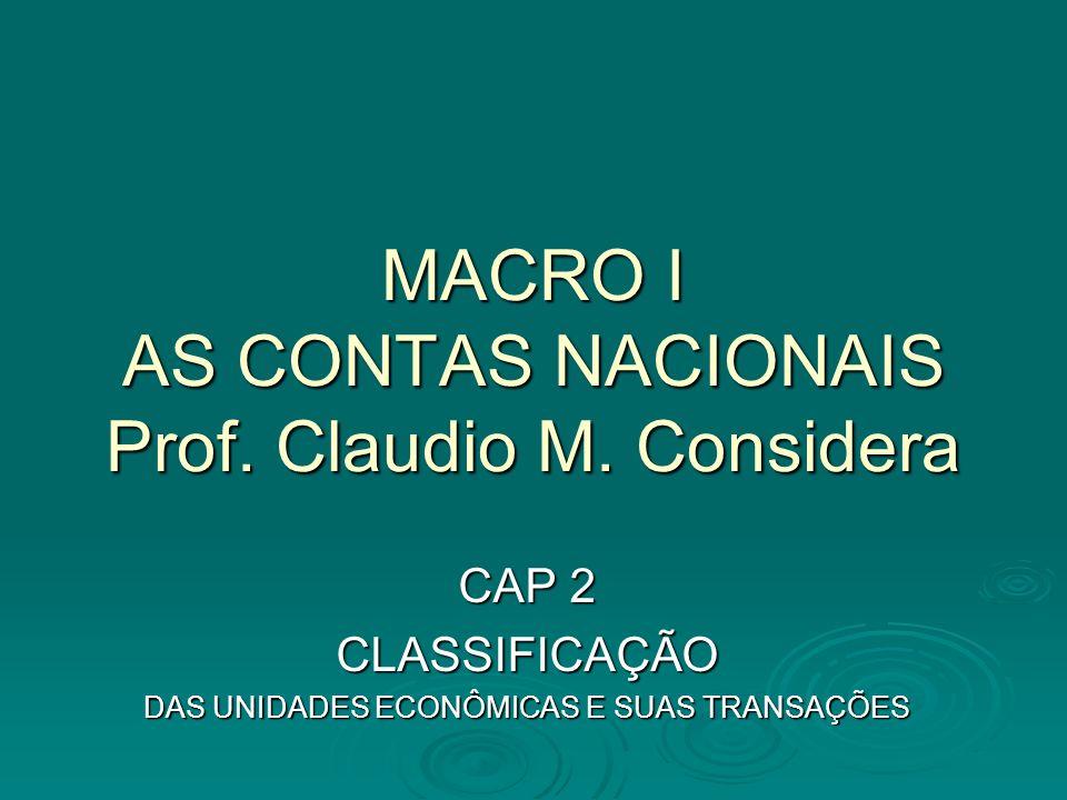 OBJETIVOS DA CLASSIFICAÇÃO O processo econômico, nas economias modernas, se traduz em inúmeras transações realizadas por uma infinidade de agentes.