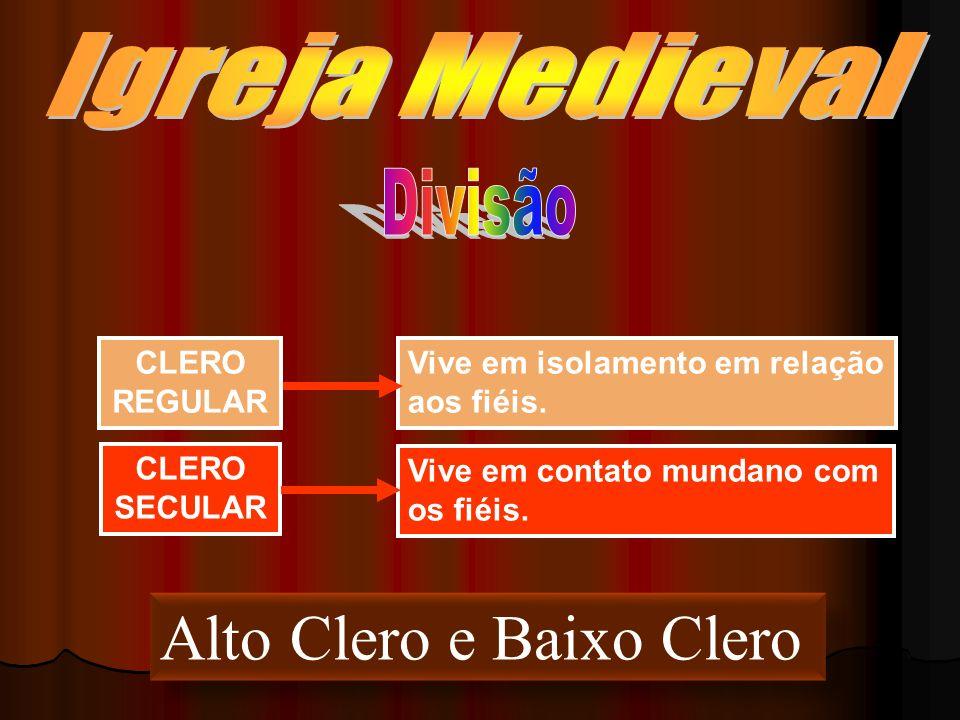 CLERO REGULAR Vive em isolamento em relação aos fiéis. CLERO SECULAR Vive em contato mundano com os fiéis. Alto Clero e Baixo Clero