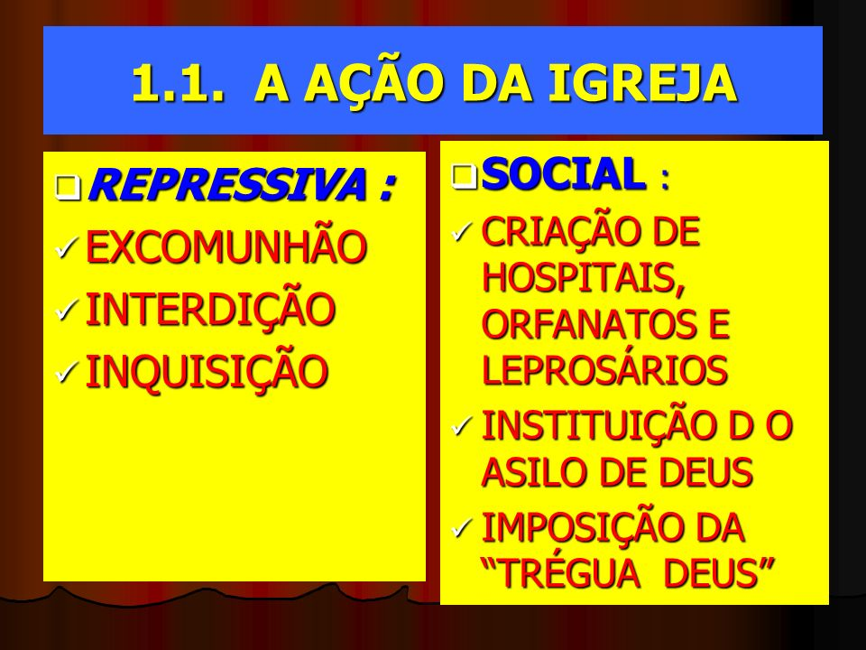1.1. A AÇÃO DA IGREJA REPRESSIVA : REPRESSIVA : EXCOMUNHÃO EXCOMUNHÃO INTERDIÇÃO INTERDIÇÃO INQUISIÇÃO INQUISIÇÃO SOCIAL : SOCIAL : CRIAÇÃO DE HOSPITA