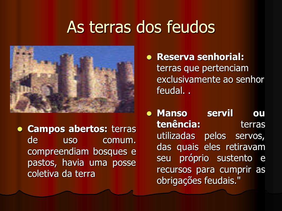 As terras dos feudos Reserva senhorial: terras que pertenciam exclusivamente ao senhor feudal.. Reserva senhorial: terras que pertenciam exclusivament