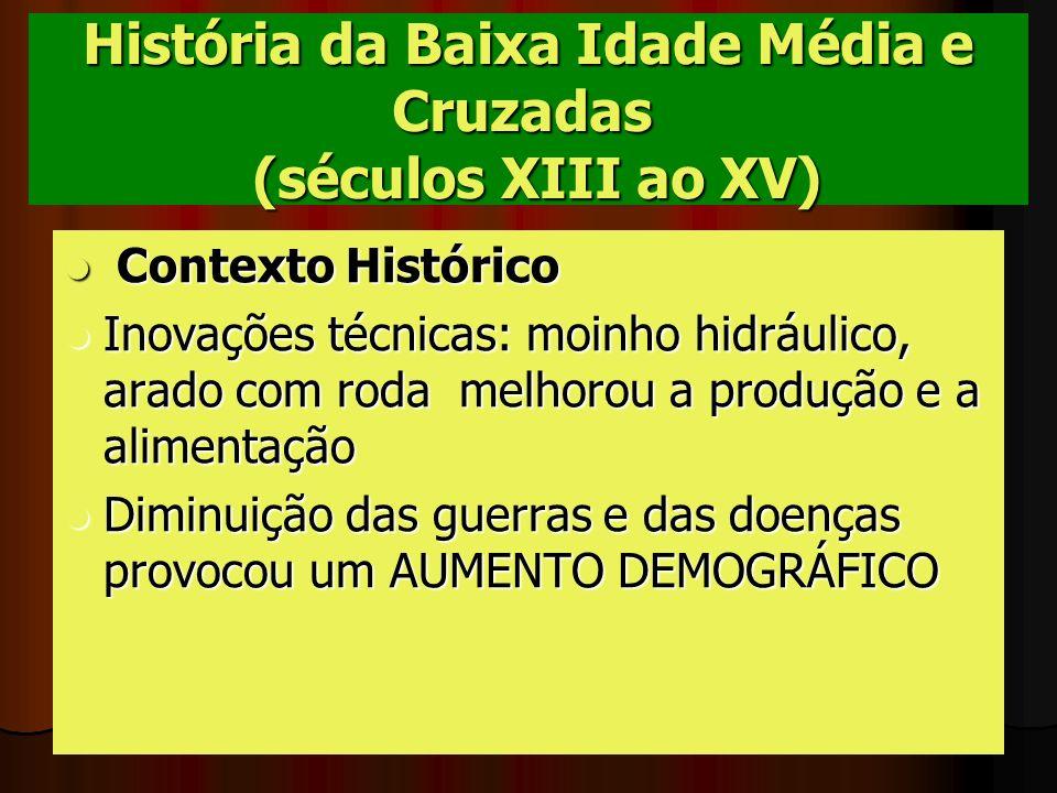 História da Baixa Idade Média e Cruzadas (séculos XIII ao XV) Contexto Histórico Contexto Histórico Inovações técnicas: moinho hidráulico, arado com r