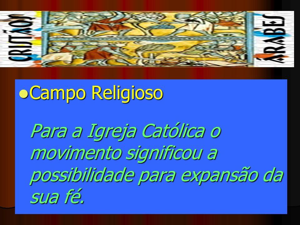 Campo Religioso Para a Igreja Católica o movimento significou a possibilidade para expansão da sua fé. Campo Religioso Para a Igreja Católica o movime
