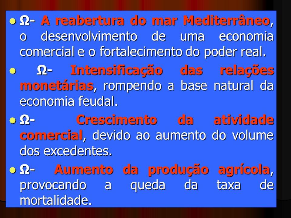 Ω- A reabertura do mar Mediterrâneo, o desenvolvimento de uma economia comercial e o fortalecimento do poder real. Ω- A reabertura do mar Mediterrâneo