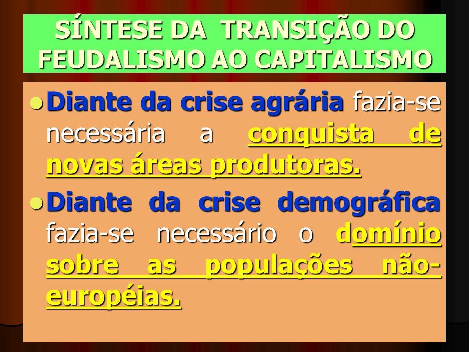 SÍNTESE DA TRANSIÇÃO DO FEUDALISMO AO CAPITALISMO Diante da crise agrária fazia-se necessária a conquista de novas áreas produtoras. Diante da crise d
