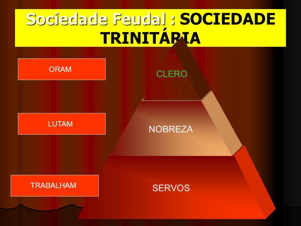 Sociedade Feudal : SOCIEDADE TRINITÁRIA CLERO NOBREZA SERVOS TRABALHAM LUTAM ORAM
