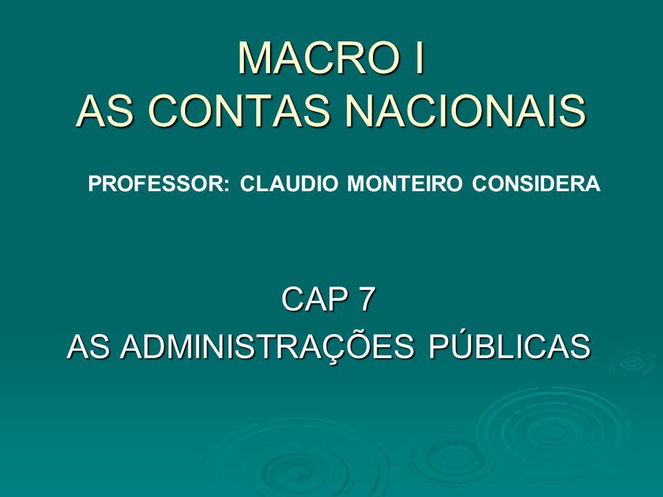 MACRO I AS CONTAS NACIONAIS CAP 7 AS ADMINISTRAÇÕES PÚBLICAS PROFESSOR: CLAUDIO MONTEIRO CONSIDERA