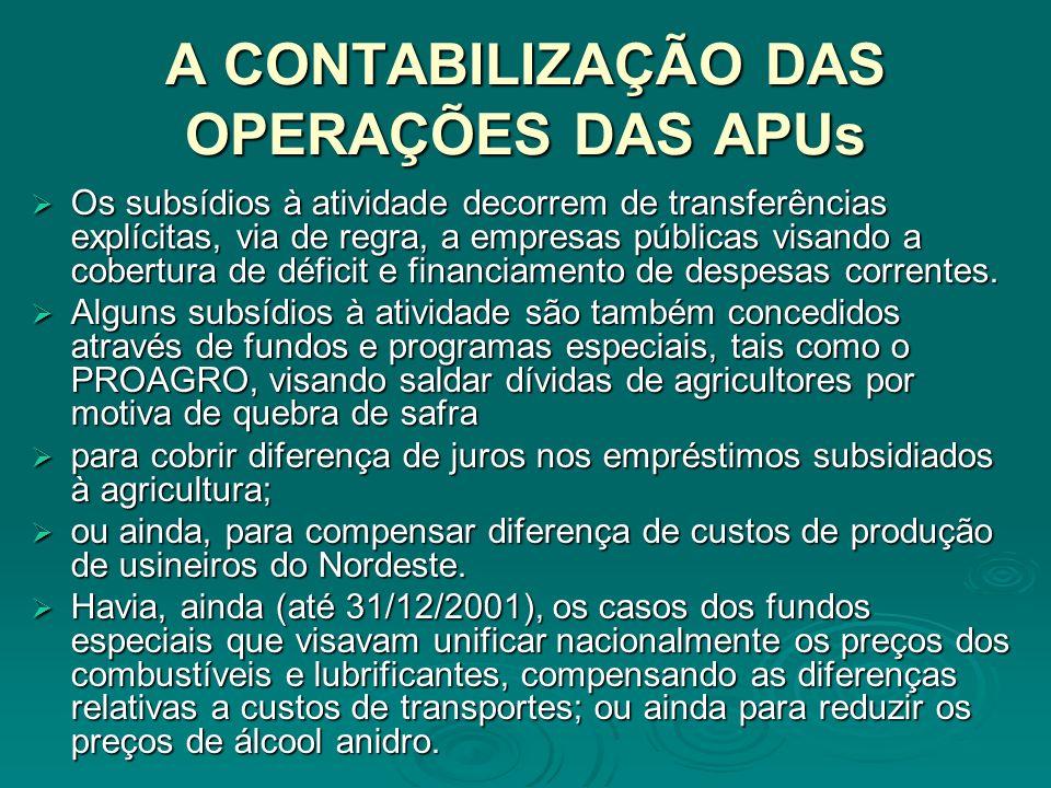 A CONTABILIZAÇÃO DAS OPERAÇÕES DAS APUs Os subsídios à atividade decorrem de transferências explícitas, via de regra, a empresas públicas visando a cobertura de déficit e financiamento de despesas correntes.