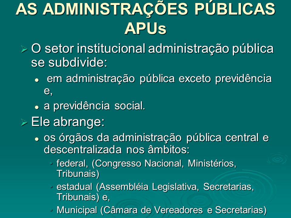 O FINANCIAMENTO DAS APUs O governo exerce o seu papel de agente de transferência de recursos entre os demais setores institucionais, mediante a combinação da estrutura do sistema tributário, com os seus gastos de transferência.