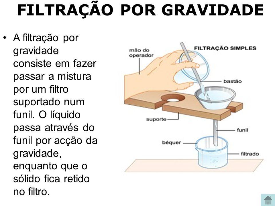 FILTRAÇÃO POR GRAVIDADE A filtração por gravidade consiste em fazer passar a mistura por um filtro suportado num funil. O líquido passa através do fun