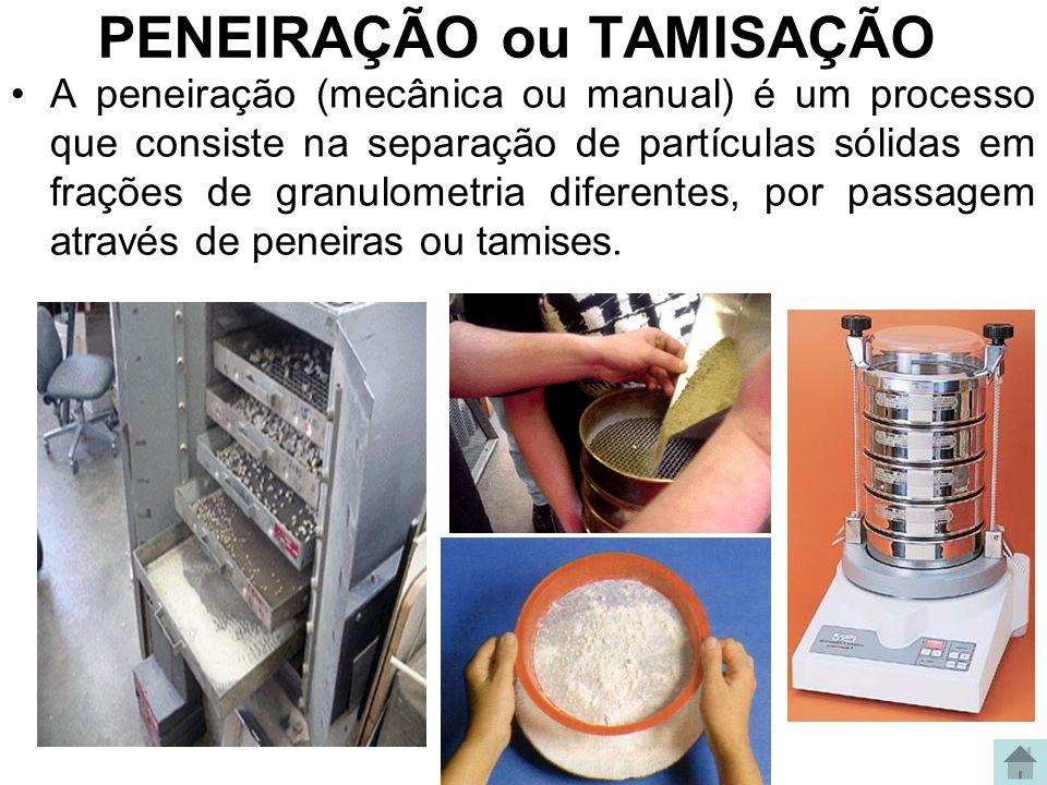 PENEIRAÇÃO ou TAMISAÇÃO A peneiração (mecânica ou manual) é um processo que consiste na separação de partículas sólidas em frações de granulometria di