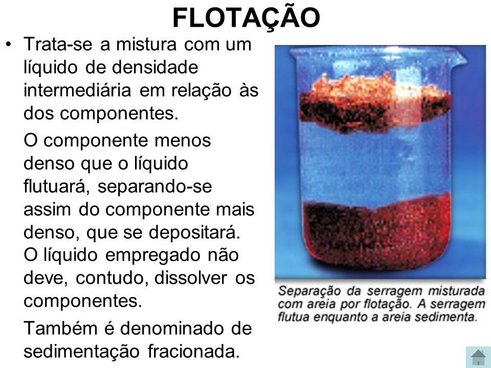 FLOTAÇÃO Trata-se a mistura com um líquido de densidade intermediária em relação às dos componentes. O componente menos denso que o líquido flutuará,