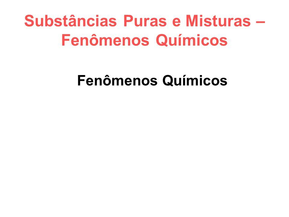 Substâncias Puras e Misturas – Fenômenos Químicos Fenômenos Químicos