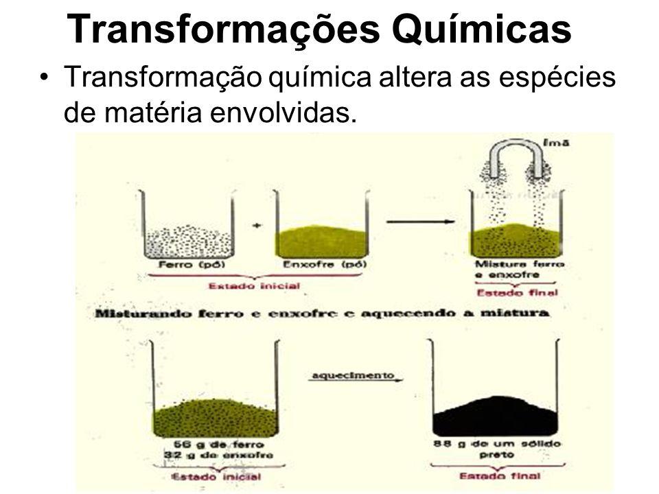 Transformações Químicas Transformação química altera as espécies de matéria envolvidas.