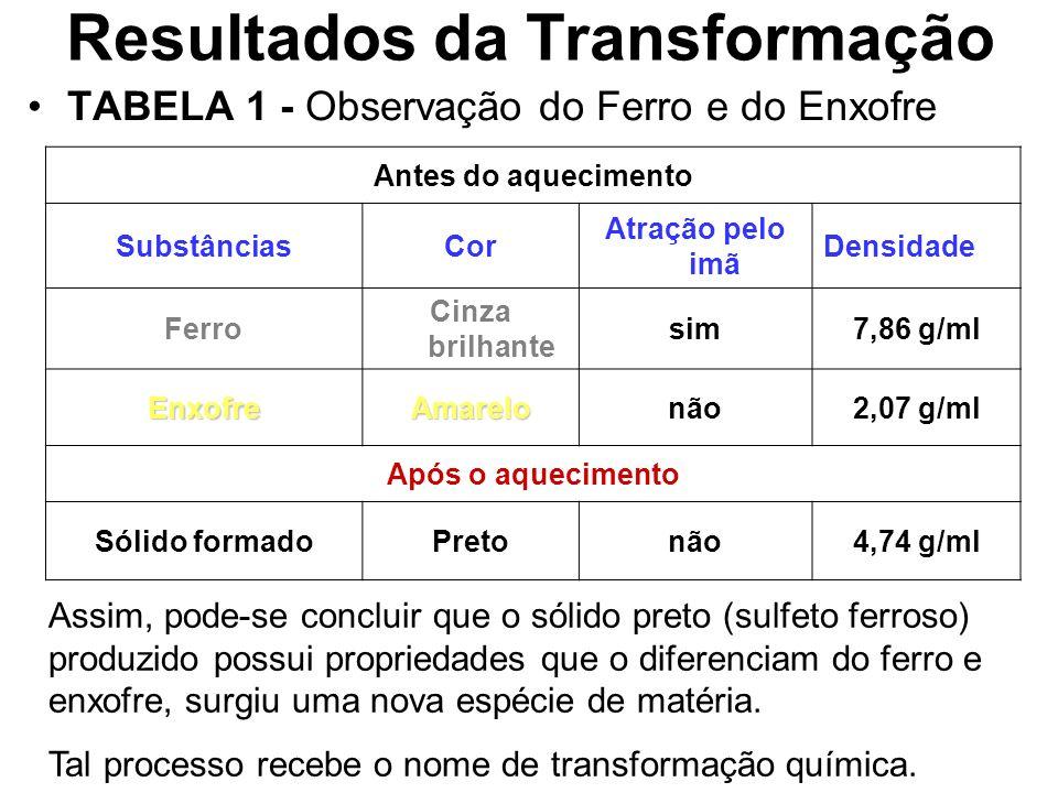 Resultados da Transformação TABELA 1 - Observação do Ferro e do Enxofre Antes do aquecimento SubstânciasCor Atração pelo imã Densidade Ferro Cinza bri
