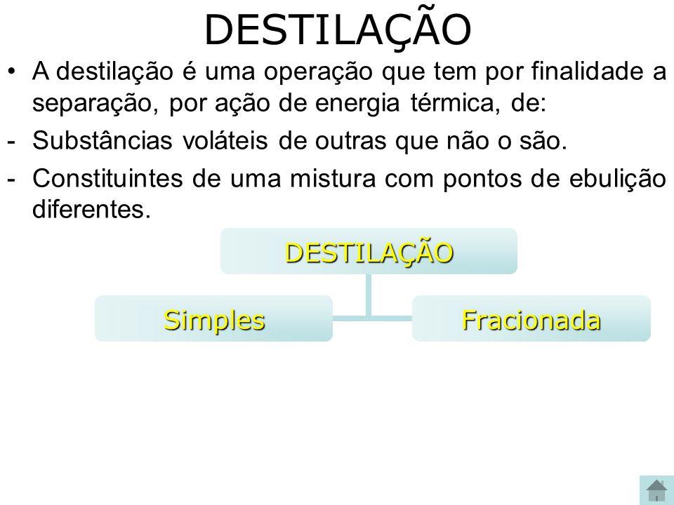 DESTILAÇÃODESTILAÇÃO SimplesFracionada A destilação é uma operação que tem por finalidade a separação, por ação de energia térmica, de: -Substâncias v