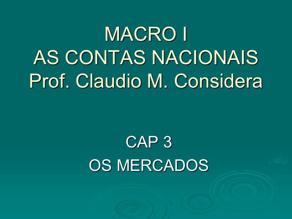 MACRO I AS CONTAS NACIONAIS Prof. Claudio M. Considera CAP 3 OS MERCADOS