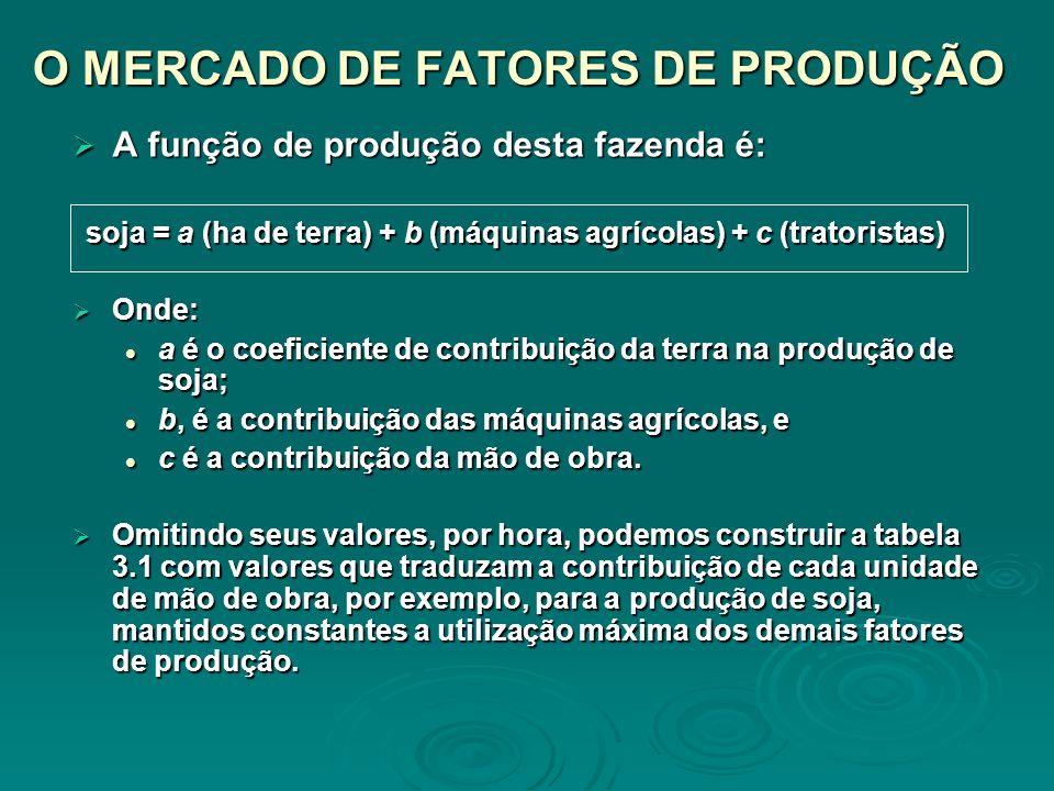 O MERCADO DE FATORES DE PRODUÇÃO A função de produção desta fazenda é: A função de produção desta fazenda é: soja = a (ha de terra) + b (máquinas agrí