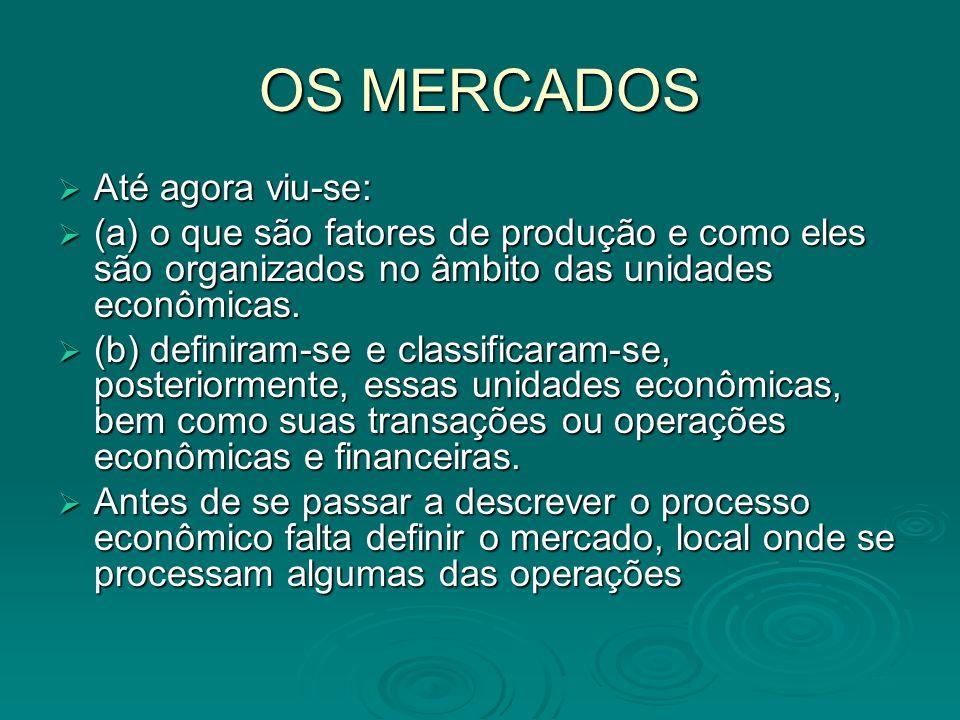 OS MERCADOS A teoria econômica define mercado como o encontro dos fluxos de oferta e demanda, sejam de fatores de produção ou de bens e serviços.