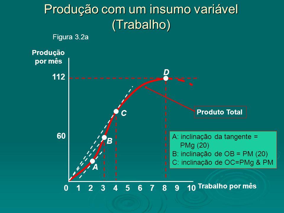 Produto Total A: inclinação da tangente = PMg (20) B: inclinação de OB = PM (20) C: inclinação de OC=PMg & PM Trabalho por mês Produção por mês 60 112