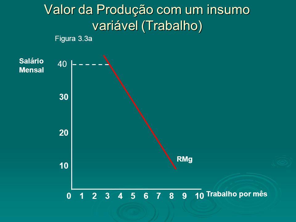 Valor da Produção com um insumo variável (Trabalho) 8 10 20 Salário Mensal 02345679101 Trabalho por mês 30 Figura 3.3a 40 RMg