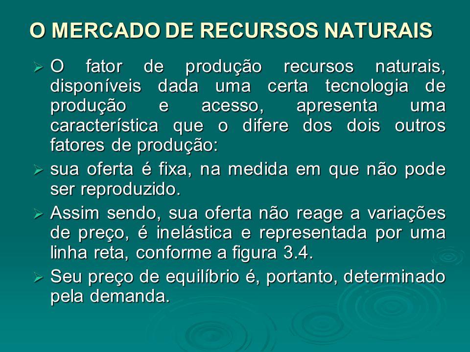 O MERCADO DE RECURSOS NATURAIS O fator de produção recursos naturais, disponíveis dada uma certa tecnologia de produção e acesso, apresenta uma caract