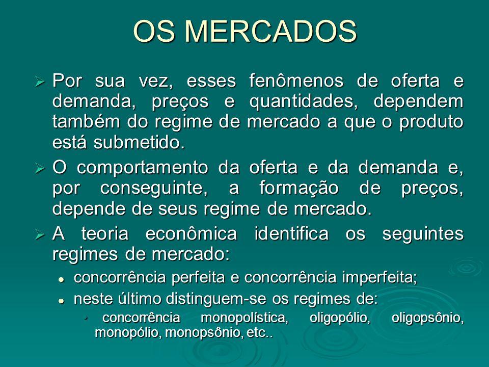 OS MERCADOS Aborda-se aqui apenas o regime de concorrência perfeita e mesmo assim de maneira resumida.