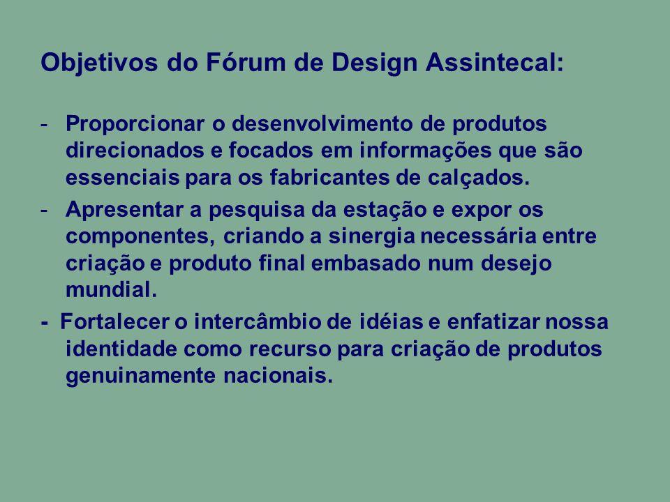 Objetivos do Fórum de Design Assintecal: -Proporcionar o desenvolvimento de produtos direcionados e focados em informações que são essenciais para os