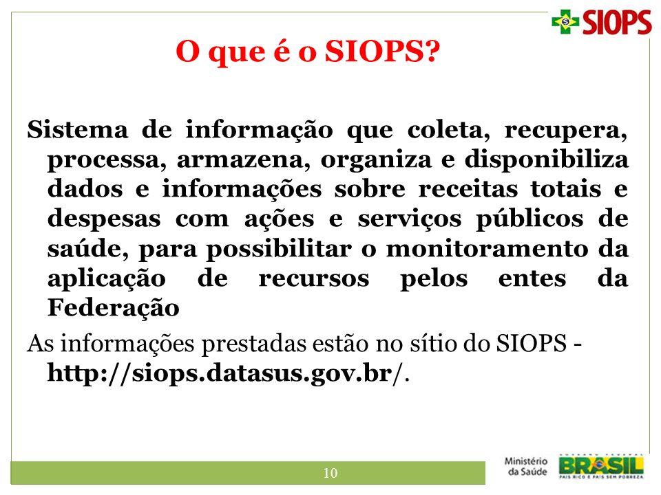 10 O que é o SIOPS? Sistema de informação que coleta, recupera, processa, armazena, organiza e disponibiliza dados e informações sobre receitas totais