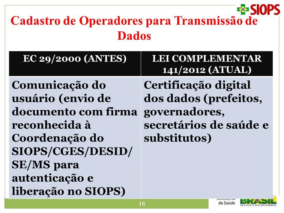 16 Cadastro de Operadores para Transmissão de Dados EC 29/2000 (ANTES)LEI COMPLEMENTAR 141/2012 (ATUAL) Comunicação do usuário (envio de documento com