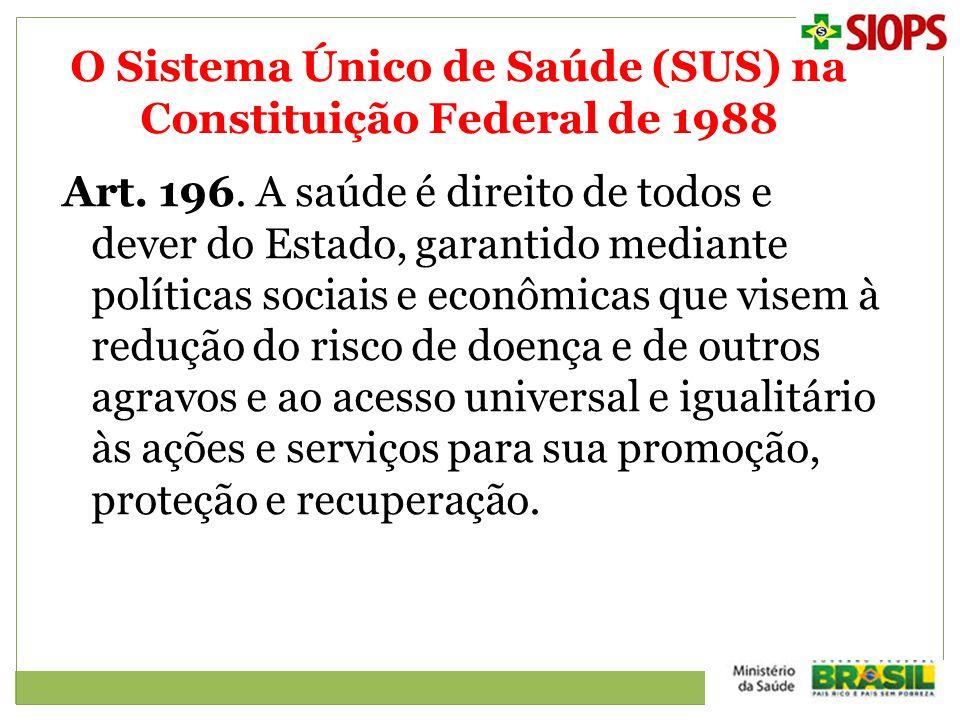 O Sistema Único de Saúde (SUS) na Constituição Federal de 1988 Art. 196. A saúde é direito de todos e dever do Estado, garantido mediante políticas so