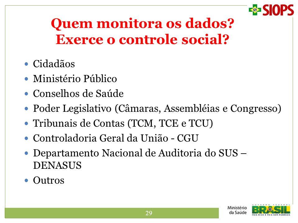 29 Quem monitora os dados? Exerce o controle social? Cidadãos Ministério Público Conselhos de Saúde Poder Legislativo (Câmaras, Assembléias e Congress