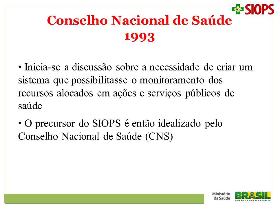 Conselho Nacional de Saúde 1993 Inicia-se a discussão sobre a necessidade de criar um sistema que possibilitasse o monitoramento dos recursos alocados