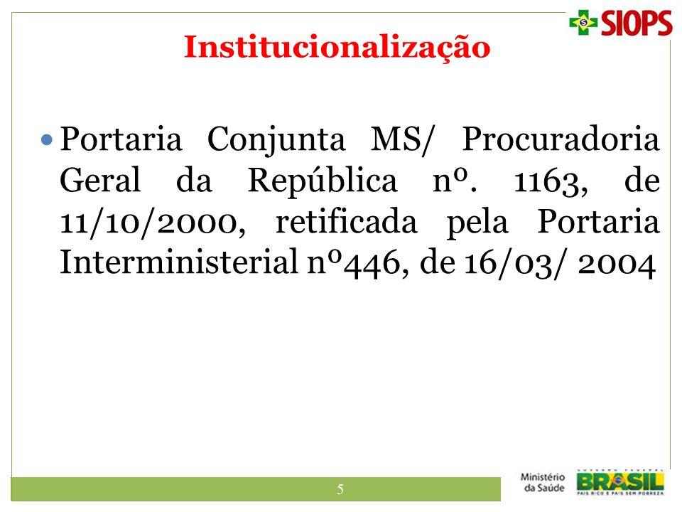 5 Institucionalização Portaria Conjunta MS/ Procuradoria Geral da República nº. 1163, de 11/10/2000, retificada pela Portaria Interministerial nº446,