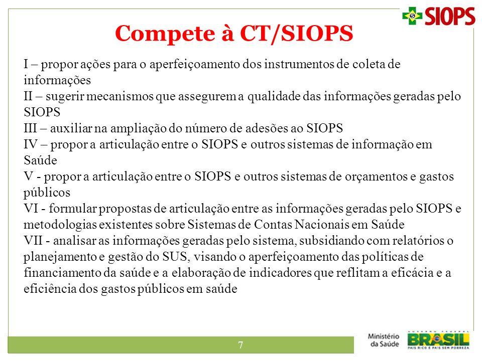 7 Compete à CT/SIOPS I – propor ações para o aperfeiçoamento dos instrumentos de coleta de informações II – sugerir mecanismos que assegurem a qualida