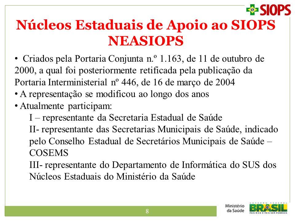 8 Núcleos Estaduais de Apoio ao SIOPS NEASIOPS Criados pela Portaria Conjunta n.º 1.163, de 11 de outubro de 2000, a qual foi posteriormente retificad