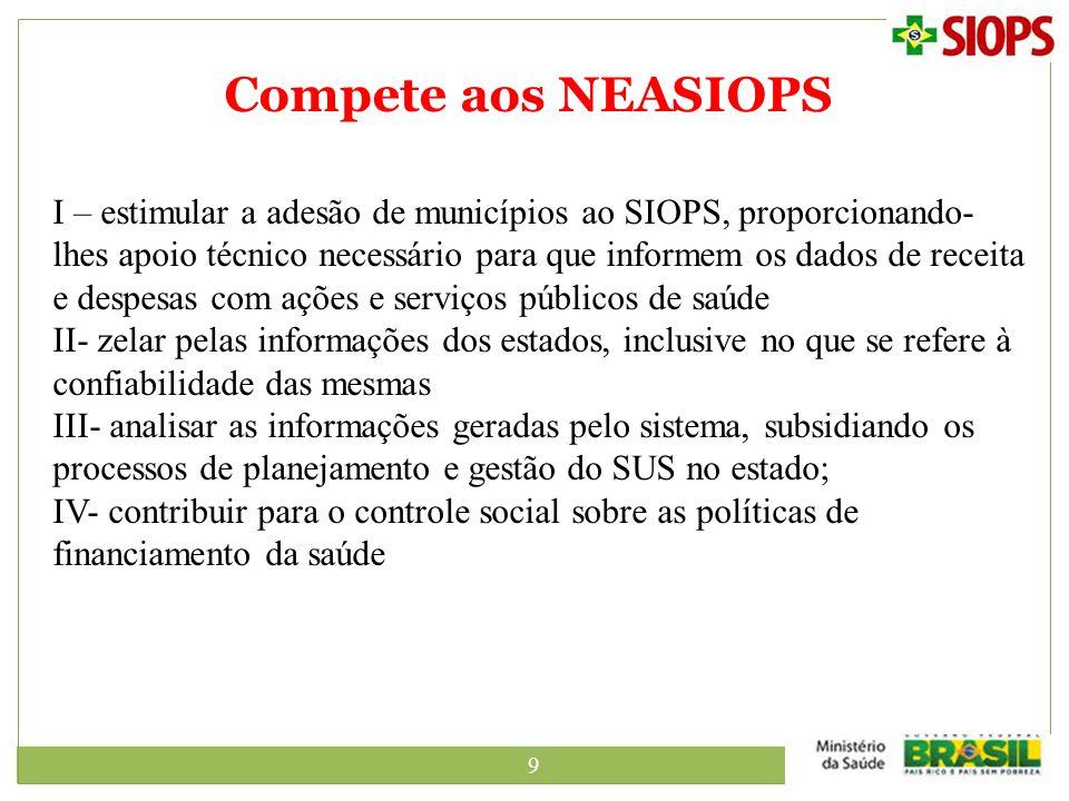 9 Compete aos NEASIOPS I – estimular a adesão de municípios ao SIOPS, proporcionando- lhes apoio técnico necessário para que informem os dados de rece