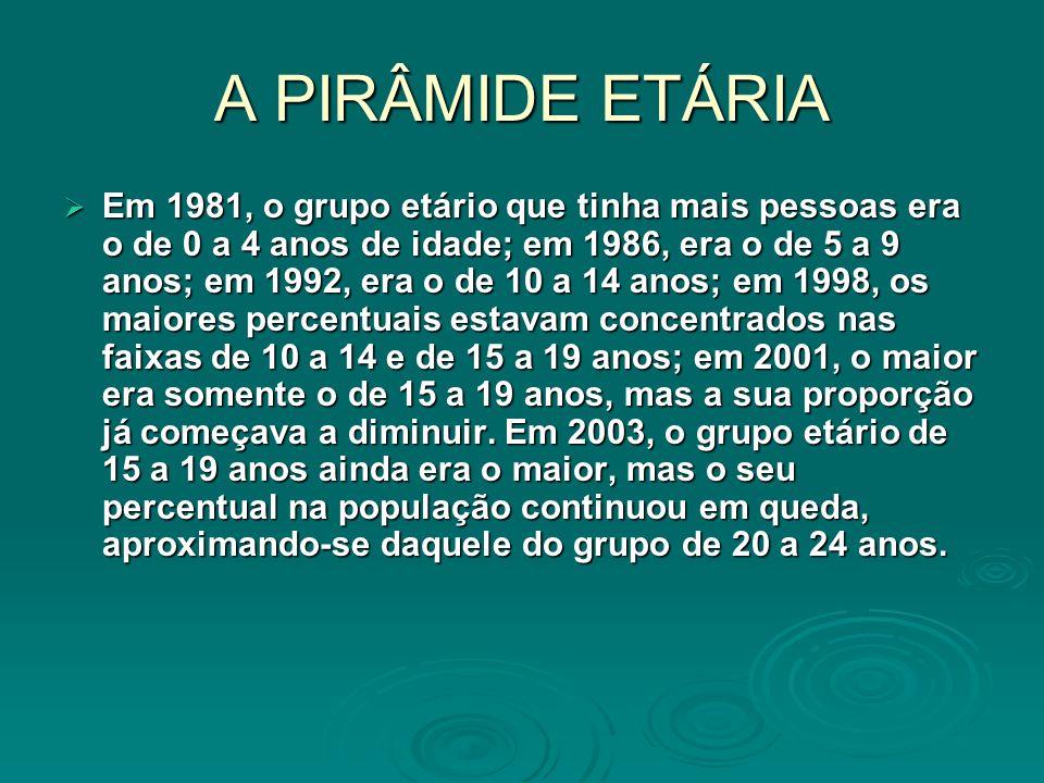 A PIRÂMIDE ETÁRIA Em 1981, o grupo etário que tinha mais pessoas era o de 0 a 4 anos de idade; em 1986, era o de 5 a 9 anos; em 1992, era o de 10 a 14