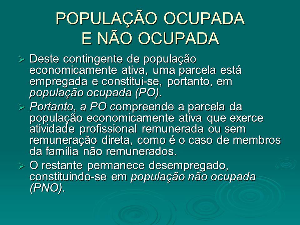 POPULAÇÃO OCUPADA E NÃO OCUPADA Deste contingente de população economicamente ativa, uma parcela está empregada e constitui-se, portanto, em população