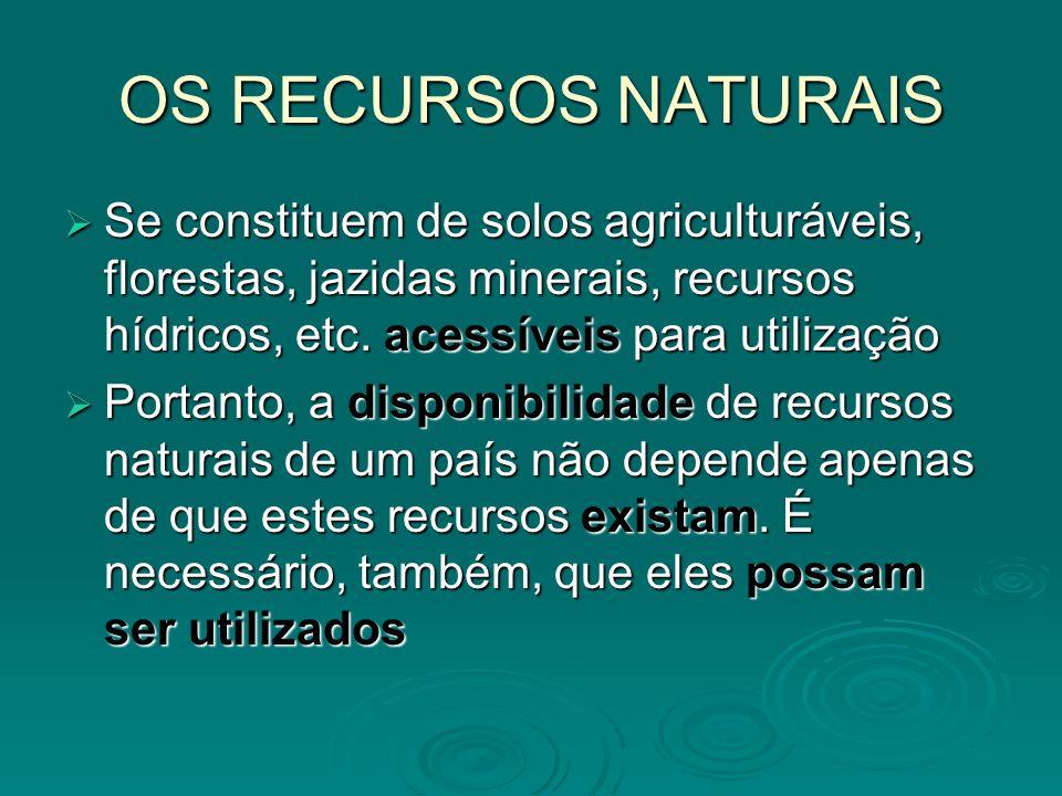 OS RECURSOS NATURAIS Se constituem de solos agriculturáveis, florestas, jazidas minerais, recursos hídricos, etc. acessíveis para utilização Se consti