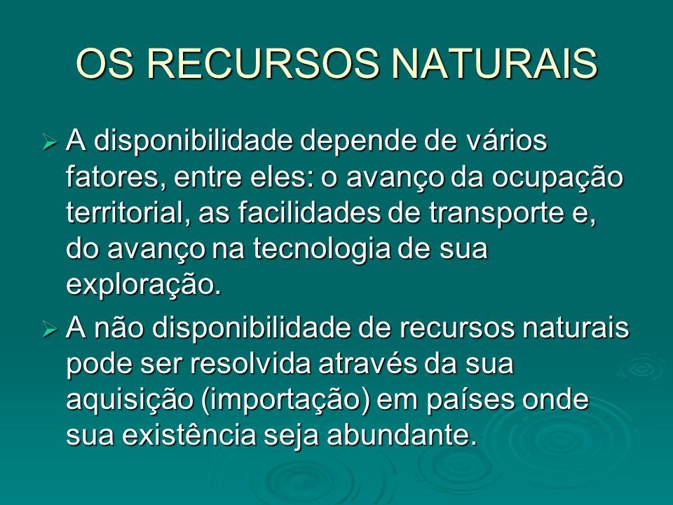 OS RECURSOS NATURAIS A disponibilidade depende de vários fatores, entre eles: o avanço da ocupação territorial, as facilidades de transporte e, do ava